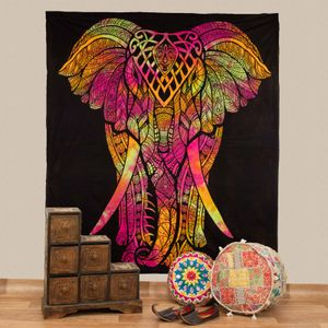 Kunst und Magie Tagesdecke Wandbehang Wandtuch Bunt Deko Tuch Elefant  ca. 200 x 230cm