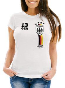 Damen T-Shirt Fanshirt Fußball EM WM Deutschland Trikot Slim Fit MoonWorks® weiß S