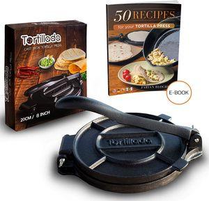 Tortillada - Premium Tortillapresse aus Gusseisen + E-Book mit 50 Tortilla Rezepten auf Deutsch (20cm)