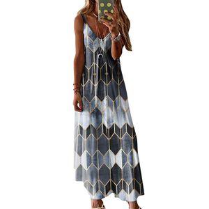 Frauen Geometrisches Muster Sommerkleid V-Ausschnitt Sling Maxikleid, Grau, 3XL