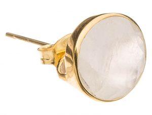 Damen Ohrringe 925 Silber vergoldet Mondstein Weiss 13mm