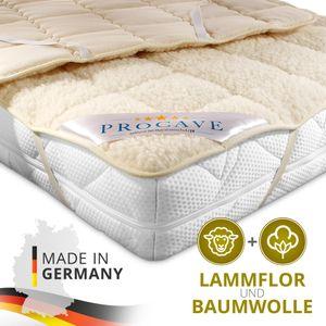 PROCAVE Lammflor Unterbett gefüllt mit Schurwolle in verschiedenen Größen - Matratzenauflage 90x200 cm mit 4 Eckgummis als Matratzenschoner - Soft-Matratzen-Topper