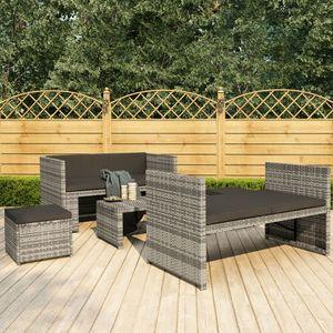 Huicheng Poly Rattan 5-tlg. Garten Lounge Set Sitzgruppe Gartengarnitur mit Auflagen Grau