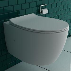 Alpenberger Spülrandloses Hänge-WC inkl. Quick-Release WC-Sitz mit Absenkautomatik | Tiefspül-Wand-WC mit Befestigungsset