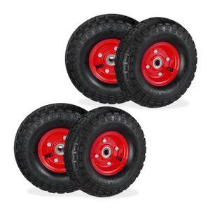 relaxdays 4x Sackkarrenrad 4.1/3.5-4 Ersatzrad Stahl Komplettreifen schwarz-rot Luftreifen