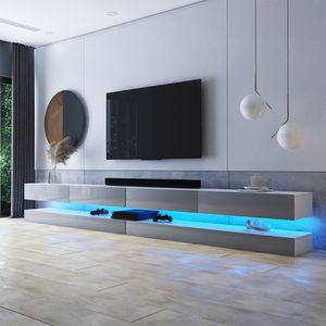 Selsey TV-Lowboard HYLIA DOUBLE Weiß Matt/ Grau Hochglanz mit LED-Beleuchtung 2x140 cm breit