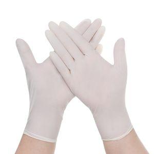 Sunnyme 100 Stück Nitril Einweghandschuhe Puderfreie Gummilatexfrei Einweg Handschuhe Weiß XS