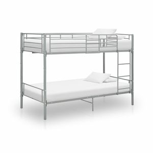 SIRUITON Etagenbett Kinderbett Jugendbett Juniorbett Autobett Spielbett Grau Metall 90x200 cm