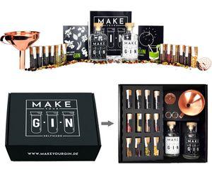 Make Your Gin Geschenkset Geschenkbox Gin zum Selbermachen - 11 Botanicals + Bar Trichter + Anleitung mit Rezept