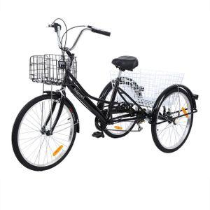 24 Zoll Dreirad für Erwachsene 6-Gang mit Korb 3-Rad-Fahrrad für Einkaufen Sport im Freien