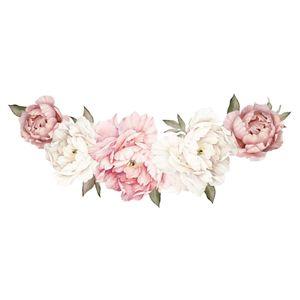 Wandaufkleber Blumen Pfingstrose Rosen Wandsticker Wandtattoo Wohnzimmer Wand Dekoration