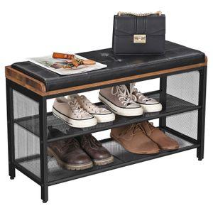 VASAGLE Schuhregal mit Gitterablagen und Kunstleder-Sitzfläche| Schuhbank 80 x 30 x 48 cm Schuhbank Sitztruhe Schuhablage Metall LBS75X