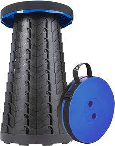 ONVAYA® Ausziehbarer Klapphocker | Faltbarer & höhenverstellbarer Campinghocker | Mini Outdoor Hocker | Falthocker für Kinder & Erwachsene | Blau