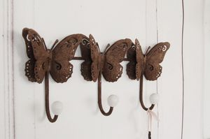 Wandgarderobe Schmetterling, Garderobe, Hakenleiste antik shabby chic