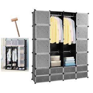 wolketon 16 Wš¹rfel Regalsystem Kleiderschrank DIY Garderobenschrank Schwarz  Kunststoff Aufbewahrung Garderobe fš¹r Schlafzimmer mit Tš¹ren 180*142*37CM