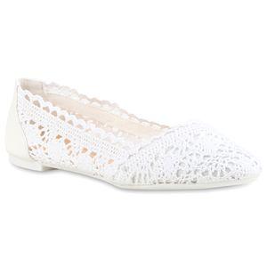 Mytrendshoe Klassische Bequeme Damen Ballerinas Spitze Flats 810414, Farbe: Weiß, Größe: 39