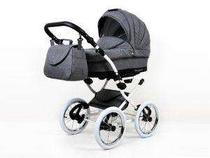 Lux4Kids Retro Kinderwagen Komplettset Buggy Babywanne Megaset Marget  Grey Flex 2in1 ohne Autositz