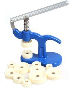 Uhrwerkzeug Einpresswerkzeug Uhrenschließer Gehäuseschließer mit 12 Druckplatten Kunststoffeinsätze für Uhrmacher, Uhr Reparatur Werkzeug Set
