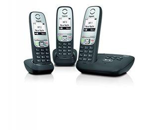 GIGASET A415A Trio Telefon - Schnurlostelefon, drei Mobilteile mit Grafik Display - Dect-Telefon mit Anrufbeantworter, Freisprechfunktion - Analog Telefon - Schwarz - Plug-Type C (EU)