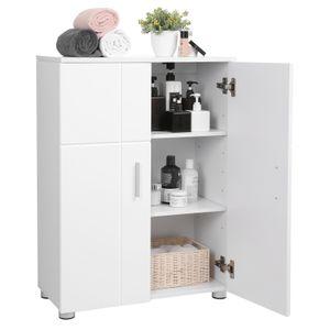 VASAGLE Badschrank weiß mit Doppeltür  Hochglanz verstellbare Regalebenen 60 x 30 x 82 cm mit Flurschrank Badezimmerschrank Beistellschrank BBK42WT