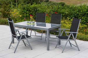 Merxx 5tlg. Amalfi Set, schwarz - 4 Klappsessel, 1 Ausziehtisch - Farbe: schwarz - Maße: Sessel: 65x57x108 Tisch: 120/180 x 90 x 75 cm; 4x 26311-317 + 1x 26450-219