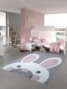 Kinderteppich Spielteppich Teppich Kinderzimmer Babyteppich Hase in Rosa Weiss Grau Größe - 200 x 290 cm