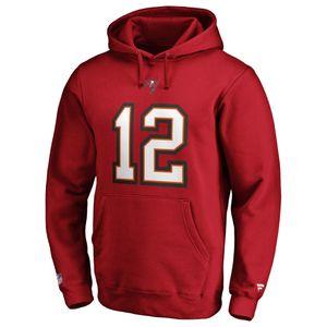 NFL Hoody Tampa Bay Buccaneers Tom Brady 12 Iconic Rot Sweater Kaputzen Pullover  L