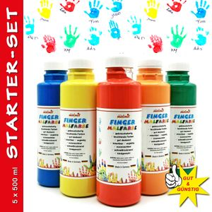 play malmit® Fingerfarbe Startset 5er Fingermalfarbe 500ml Malfarbe Kinderfarbe