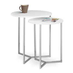 relaxdays Tisch 2er Set rund