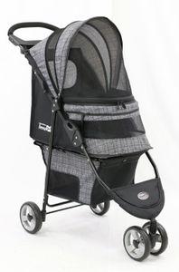 InnoPet ® buggy Avenue - IPS-033/BG - grau gemustert - inkl. Regenhaube Hundebuggy Pet Stroller Hundewagen