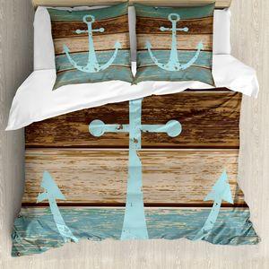 ABAKUHAUS Anker Bettwäsche Set für Doppelbetten, Maritim Thema Holzplanken, Weicher Microfaserstoff Allegigeignet kein Verblassen, Hellblau Braun Teal