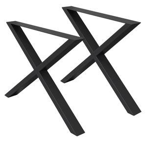 ECD Germany 2 Stück Tischgestell 60 x 72 cm in X-Form X-Design Kreuz aus pulverbeschichtetem Stahl Schwarz im Industriedesign Tischuntergestell Tischbeine Tischkufen Tischfüße Set
