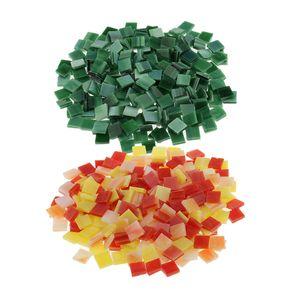500 Stü Quadratische Glasmosaikfliesen Glas Für Die Mosaikherstellung Kunsthandwerk 10x10mm Grün Rot Gelb Mehrfarbig