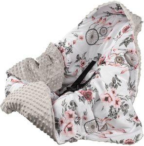 Minky Babydecke 90x90 Decke Baby Einschlagdecke mit Kapuze für Kinderwagen Buggy Babyschale  Grau/Rosen