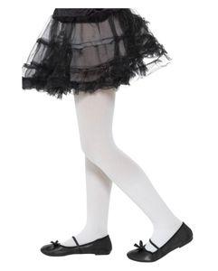 Weiße blickdichte Kinder Strumpfhose als Kostümzubehör