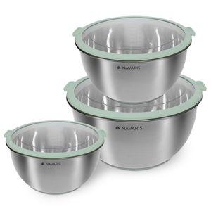 Navaris Edelstahl Schüssel Schale mit Deckel - 3-teiliges Set Rührschüssel Salatschüssel - Edelstahlschüssel Schüsselset Behälter in Mintgrün