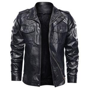 Herrenmode Jacke Pure Color Reißverschluss Stehkragen Imitation Leder Mantel Tops Größe:M,Farbe:Schwarz