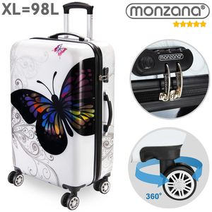 Monzana® Hartschalenkoffer Butterfly Trolley Reisekoffer Koffer M L XL 4 Rollen, Größe:XL