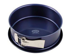 Dr. Oetker Springform Ø 18 cm BACKLIEBE EMAILLE, Backform für runde Kuchen, Kuchenform mit schnitt- und kratzfesten Emaille- Servierboden, Form mit Auslaufschutz (Farbe: Blau), Menge: 1 Stück