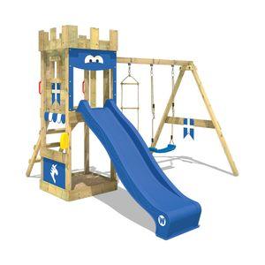 WICKEY Spielturm Ritterburg KnightFlyer mit Schaukel & blauer Rutsche, Spielhaus mit Sandkasten, Kletterleiter & Spiel-Zubehör