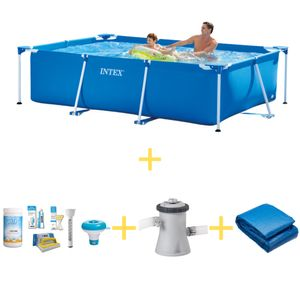 Intex Frame Pool - 260 x 160 x 65 - Inklusive WAYS Wartungspaket, Filterpumpe & Bodenplane