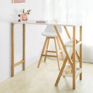 SoBuy FWT56-W Design Bartisch Stehtisch Esstisch Bartresen Küchentheke Bambus Küchenbar mit 2 Regalfächern weiß