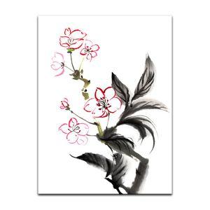 Leinwandbild - Aquarell - Chinesische Blume, Größe:60 x 80 cm