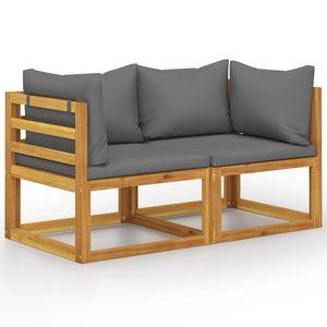 vidaXL 2-Sitzer-Gartenbank mit Dunkelgrauen Kissen