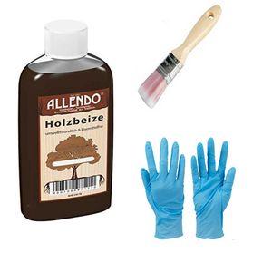 250 ml Flasche Holzbeize Holzton    Farbe: ahorn inkl. synthetischen  Pinsel von E-Com24 und Nitrilhandschuhe