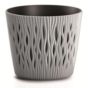 Prosperplast Sandy Round Blumentopf Pflanzgefäß 2in1 inkl. Pflanztopf Rund Kunststoff 262mm, Grau