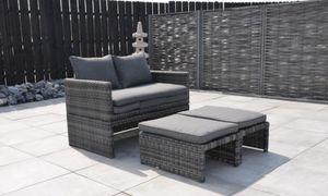 Hartman 2-in-1 Loungeset und Sonnenliege MAGIC Set, Gartenliege Balkonset Sonnenliege Relaxsofa 2-Sitzer-Loungesofa