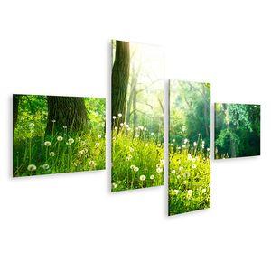 Bild Bilder auf Leinwand Frühling Natur Schöne Landschaft Grünes Gras und Bäume Wandbild Poster Leinwandbild QBAB