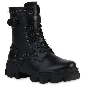 VAN HILL Damen Stiefeletten Schnürstiefeletten Nieten Schnallen Schuhe 837669, Farbe: Schwarz, Größe: 37