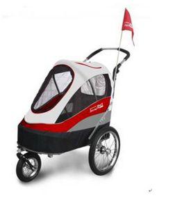 InnoPet® Sporty Trailer AT Pet Stroller Hundebuggy mit Luftreifen Fahrradanhänger Nylon rot/weiß bis 30kg